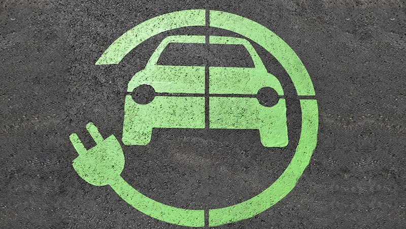 Green Electric Vehicle Symbol