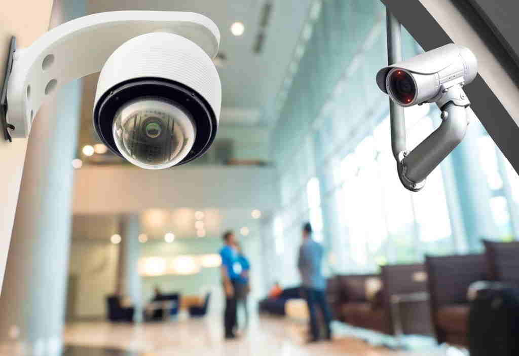 IP video surveillance cameras in a building